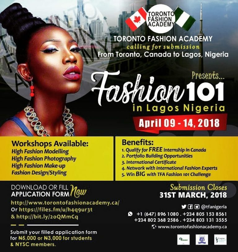 Toronto Fashion Academy Coming To Nigeria Fashion 101 Empowerment Project In Lagos April 09 14 2018 Nigeria News